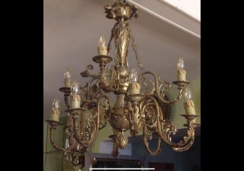 Lustre en bronze art nouveau